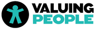 The logo of Valuing People: An organisational resource enabling a person-centred approach.
