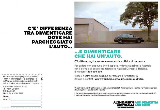 Italian Dementia Awareness Month Advertisement