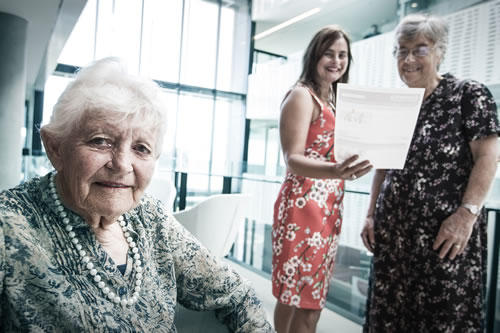 Photo by Paul Jones dementia carer support group leader Val Fell with Dr Lyn Phillipson and Associate Professor Helen Hasan.