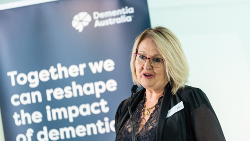 Nell Hawe, Dementia Advocate, spoke at Dementia Australia's Parliamentary Friends of Dementia event at Parliament House, Canberra held 16 March 2021. Photo: Paul Chapman